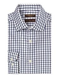 Corsivo Fernando Narrow Check Shirt Navy
