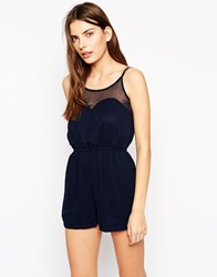Ax Paris Playsuit With Sweetheart Neckline Navy