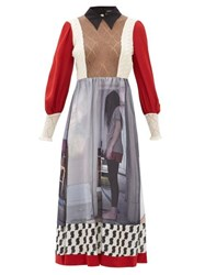 Undercover Printed Crepe And Mohair Blend Midi Dress Red Multi