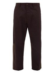 Marni Panelled Twill Kick Flare Trousers Black Red