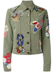 Saint Laurent Embroidered Patch Denim Jacket Women Cotton S Green