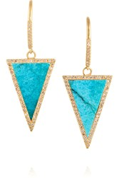 Jennifer Meyer 18 Karat Gold Turquoise And Diamond Triangle Earrings