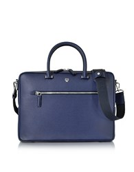 Mcm Pistol Blue Ottomar Grain Leather Medium Briefcase Dark Blue