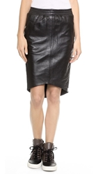 One Teaspoon Awesome Leather Skirt Black