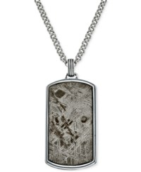 Esquire Men's Jewelry Meteorite Dog Tag In Sterling Silver Only At Macy's Gray