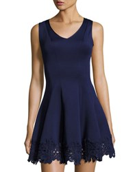 Donna Ricco Sleeveless Lace Trim Scuba Fit And Flare Dress Navy