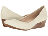 Cole Haan Tali Luxe Wedge 40 Ivory Patent Women's Slip On Dress Shoes White