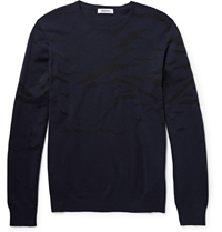 Tim Coppens Silk Intarsia Wool Sweater Black