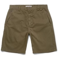 Acne Studios Isher Cotton Twill Shorts Green
