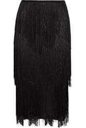 Tom Ford Fringed Stretch Ribbed Knit Midi Skirt Black