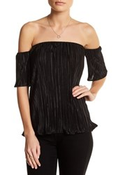 Blvd Accordion Off The Shoulder Blouse Black