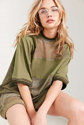 Silence And Noise Rook Mesh Oversized Tee Green