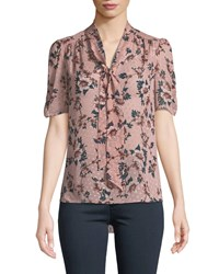 Kate Spade Prairie Rose Print Tie Neck Dotted Silk Top Pink