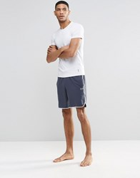 Hugo Boss Lounge Shorts With Contrast Tipping In Navy Regular Fit Navy