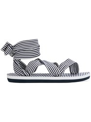 Emporio Armani Ea7 Striped Open Toe Sandals Blue