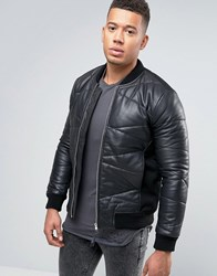 Religion Leather Bomber Jacket Black