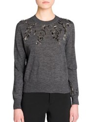 Jil Sander Embellished Crewneck Sweater Dark Grey