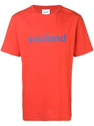 Soulland Logo Print T Shirt Red