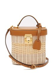 Mark Cross Benchley Rattan And Leather Shoulder Bag Tan Multi