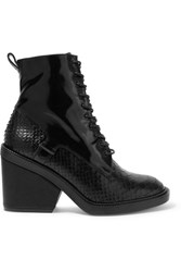 Robert Clergerie Bono Snake Effect And Patent Leather Ankle Boots Black