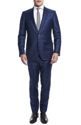 Strong Suit By Ilaria Urbinati Kilgore Slim Fit Plaid Wool Nordstrom Exclusive Marine Windowpane