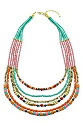 Panacea Multistrand Seed Bead Necklace Turquoise Multi