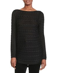 Lauren Ralph Lauren Petite Cable Knit Cotton Sweater Black