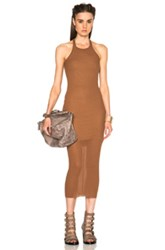 Rick Owens Ribbed Cotton Tank Dress In Brown