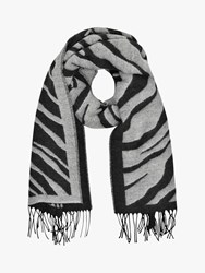 French Connection Tiger Jacquard Scarf Dark Grey Winter White