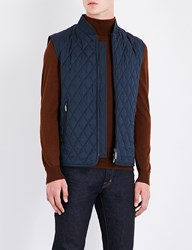 Brioni Quilted Wool And Silk Blend Gilet Navy