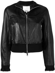 3.1 Phillip Lim Cropped Leather Jacket Black