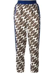 Erika Cavallini Semi Couture High Waist Printed Trousers White