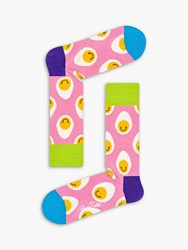 Happy Socks Smile Eggs Print Easter Pink One Size