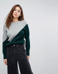 Evidnt Two Tone Knit Jumper Dark Green