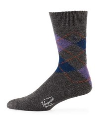 Penguin Donovan Combed Cotton Argyle Socks Charcoal