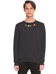 House Of Holland Blow Me Embroidered Cotton Sweatshirt