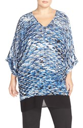 Plus Size Women's Nic Zoe 'Clear Waters' Print Front V Neck Caftan Cover Up