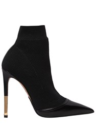 Balmain 115Mm Aurore Knit And Leather Ankle Boots