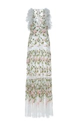 Giambattista Valli Plunging V Neckline Floral Embroidered Maxi Dress White