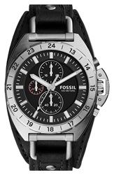 Fossil 'Breaker' Chronograph Leather Cuff Watch 45Mm Black Silver