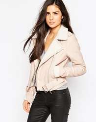 Michelle Keegan Loves Lipsy Biker Jacket With Borg Trim 041Pink