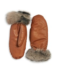 Ugg Faux Fur Lined Shearling Cuff Mittens Chestnut