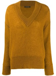 Luisa Cerano Ribbed Knit V Neck Sweater Neutrals