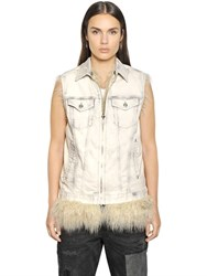 Diesel Faux Fur And Cotton Denim Vests