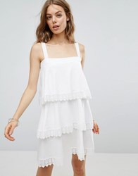 Asos Tiered Lace Detail Sundress White