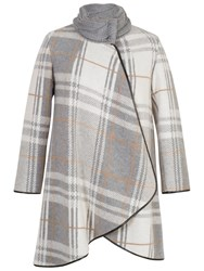 Chesca Check Cable Knit Collar Coat Grey Ivory