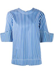 Ports 1961 Turn Up Sleeve Top Women Silk Cotton Polyester 42 Blue