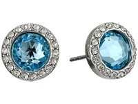 Rebecca Minkoff Crystal Halo Stud Earrings Rhodium Aqua Earring Blue