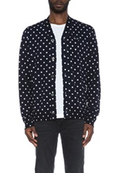Comme Des Garcons Play Dot Print Wool Cardigan With Black Emblem In Blue Geometric Print
