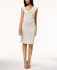 Connected Sequined Lace Sheath Dress Champagne